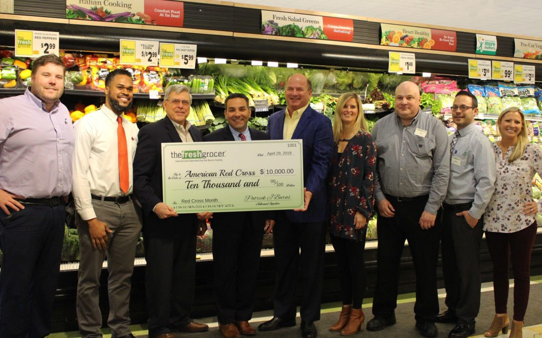 Burns' Family Supermarkets Raise 10K for Red Cross